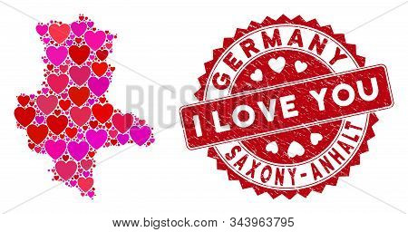 Love Collage Saxony-anhalt Land Map And Corroded Stamp Seal With I Love You Words. Saxony-anhalt Lan