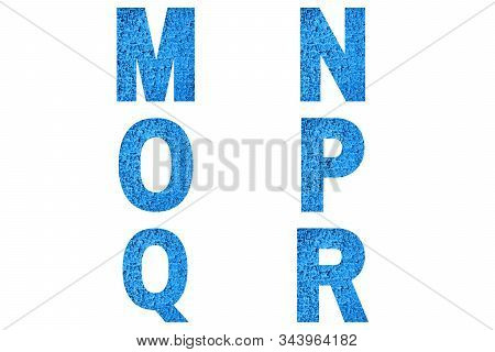Font Alphabet M, N, O, P, Q, R Made Of Trendy Blue Color House Front.