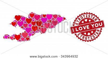 Love Collage Kyrgyzstan Map And Grunge Stamp Seal With I Love You Phrase. Kyrgyzstan Map Collage Com