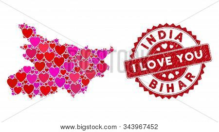 Love Collage Bihar State Map And Grunge Stamp Watermark With I Love You Phrase. Bihar State Map Coll