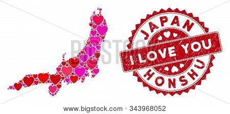 Love Collage Honshu Island Map And Corroded Stamp Seal With I Love You Phrase. Honshu Island Map Col