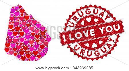 Love Mosaic Uruguay Map And Corroded Stamp Seal With I Love You Words. Uruguay Map Collage Construct