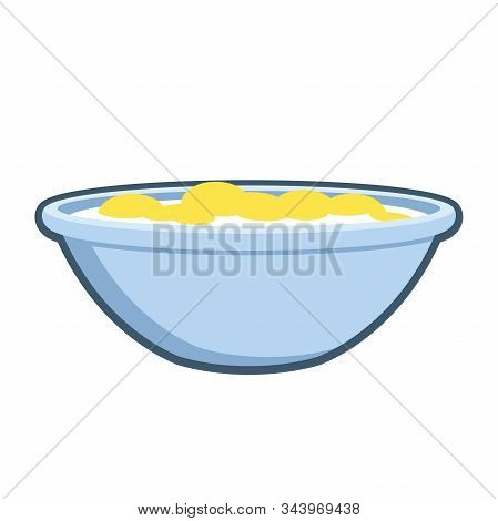 Cereal And Milk In A Bow Flat Icon On A White Background