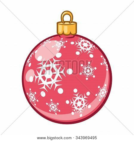 Illustration Of A Christmas Tree Toy On A White Background