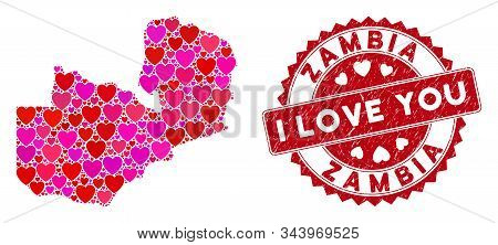 Love Collage Zambia Map And Rubber Stamp Seal With I Love You Phrase. Zambia Map Collage Formed With
