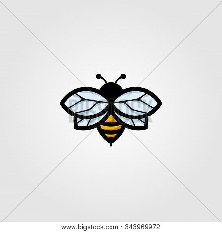 Flying Bumblebee Logo Mascot Vector Vintage Illustration Design