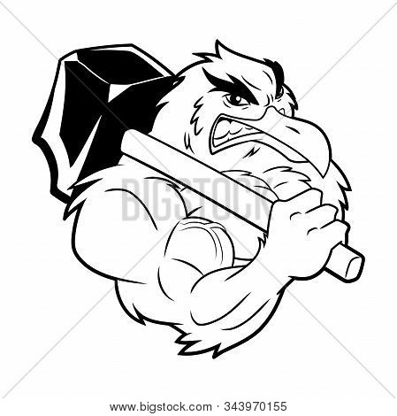 Illustration Of A Strong Seagull With Hammer. Black And White Illustration