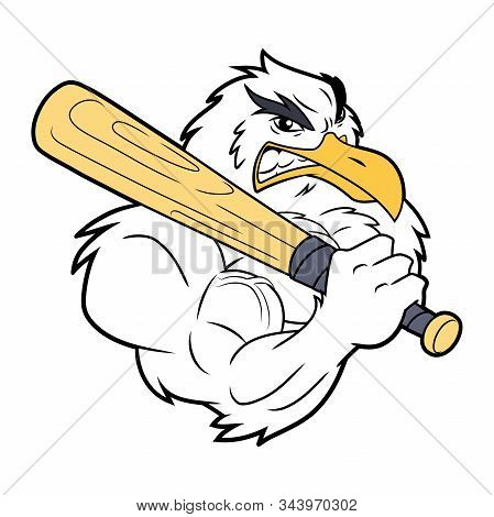 Illustration Of A Strong Seagull With Baseball Bat On A White Background