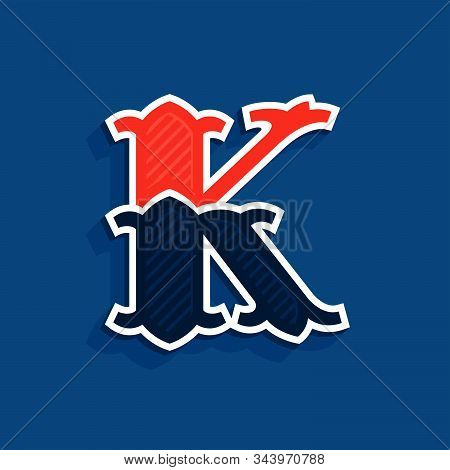 K Letter Logo In Classic Sport Team Style. Vintage Vector Font For Your Posters, Sportswear, Club T-