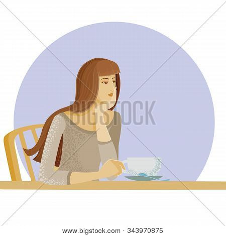 Girl Alone Sits At A Table In A Cafe With A Mug, Expectation, Date, Disappointment, Sadness, Anticip