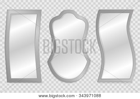 Empty Mirrors With Reflect In Mockup Style. Vector Realistic Mirrors Set With Blurry Reflection.  Me