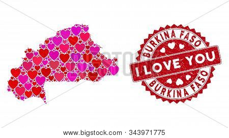 Love Collage Burkina Faso Map And Rubber Stamp Seal With I Love You Words. Burkina Faso Map Collage