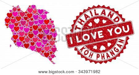Love Collage Koh Phangan Thai Island Map And Distressed Stamp Watermark With I Love You Text. Koh Ph