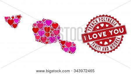 Valentine Mosaic Tahiti And Moorea Islands Map And Rubber Stamp Seal With I Love You Message. Tahiti