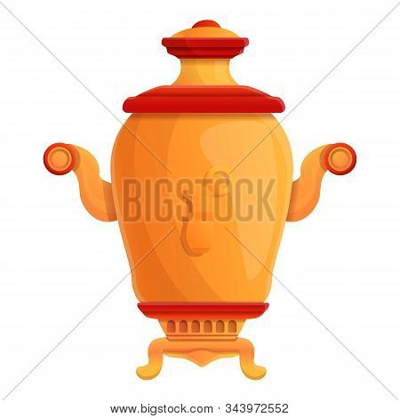 Russian Samovar Icon. Cartoon Of Russian Samovar Vector Icon For Web Design Isolated On White Backgr