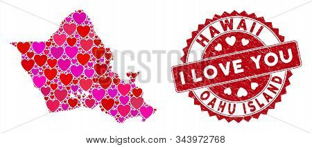 Lovely Mosaic Oahu Island Map And Grunge Stamp Seal With I Love You Text. Oahu Island Map Collage Co