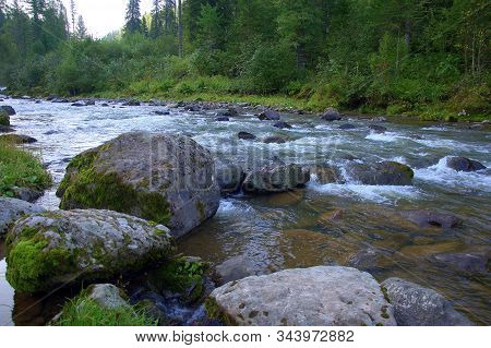 Stone Boulders On The Bank Of A Mountainous Turbulent River Flowing Through The Summer Morning Fores