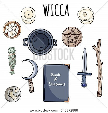 Wiccan Doodles Set. Collection Of Witchcraft Magical Items On Altar For Occult Rituals. Hand Drawn P