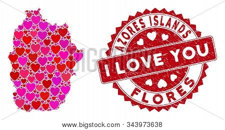 Love Collage Flores Island Of Azores Map And Corroded Stamp Seal With I Love You Caption. Flores Isl