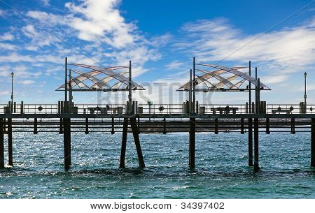 Pier With Benches And Lanterns