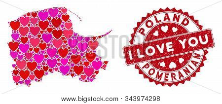 Love Mosaic Pomeranian Voivodeship Map And Distressed Stamp Watermark With I Love You Badge. Pomeran