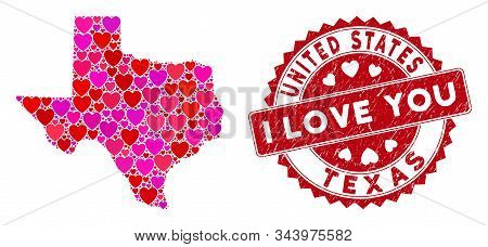 Love Collage Texas Map And Distressed Stamp Watermark With I Love You Text. Texas Map Collage Formed