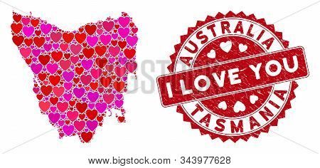 Love Collage Tasmania Island Map And Rubber Stamp Seal With I Love You Words. Tasmania Island Map Co