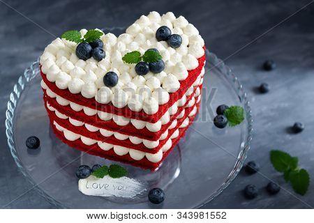 Homemade Red Velvet Cake In Heart Shape For St. Valentine's Day. Romantic Present. Sweet Valentine.