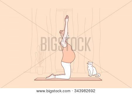 Pregnancy, Motherhood, Yoga Concept. Young Mindful Pregnant Woman Does Yoga. Motherhood Is Great Res
