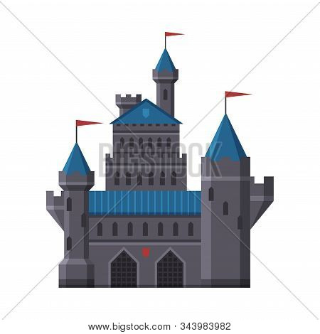 Medieval Castle, Fairytale Fortress With Blue Towers, Old Fortified Palace Vector Illustration