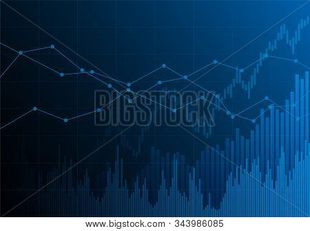 Illustration Of Blue Financial Chart With Increasing Tendency. Market And Stock Index - Vector
