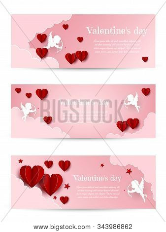 Valentine's day, Valentine's Day background, Valentine's day banners, Valentines Day flyer, Valentines Day design, Valentines Day with Heart on black background, Copy space text area, vector illustration. Valentines Day card design set. Cupid silhouette w