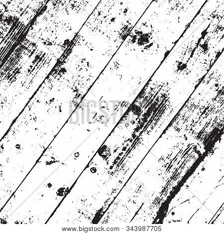 Aged Dried Board Creative Element. Grunge Old Wood Black Cover Template. Wooden Dry Planks Diagonal