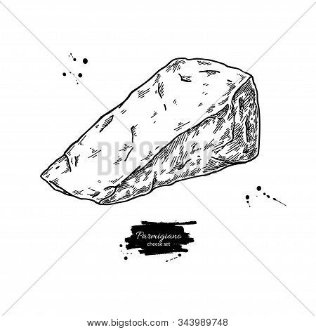 Parmigiano Reggiano Cheese Drawing. Vector Hand Drawn Food Sketch. Engraved Triangle Slice Of Parmes
