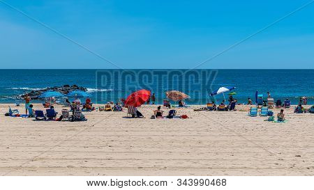 Spring Lake, New Jersey - June 22: People Enjoy A Beautiful Beach Day On June 22 2019 In Spring Lake