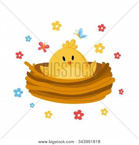 Cartoon Easter Day - Little Chicken Or Nestling In Nest And Spring Flowers, Cute Cartoon Kids Holida