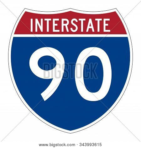 Interstate Highway 90 Road Sign With A White Background