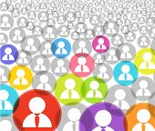 Abstract crowd of social media account icons poster