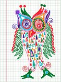 doodle owl marker hand draw on paper background poster