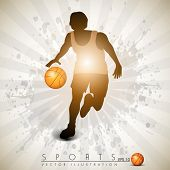 Illustration of a basketball player practicing with ball  on colorful shiny abstract grungy background. EPS 10. poster