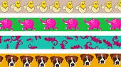 set of four cute and colourful animal page border designs poster