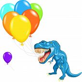 blue happy Tyrannosaurus with sharp teeth and claws with multi-colored balloons poster