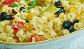 Southwestern Pasta Salad, Southwest  cuisine, Traditional assorted American dishes, Top view. poster