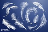 White Realistic Bird Feathers. Vector Flying Feathers Set with Transparency. Clipart Collection. Plume fluffy falling detailed fuzz. Goose or Swan fuzz. Different lightweight isolated elements. poster