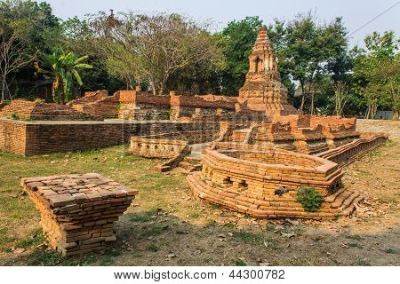 Old Chedi In Wiang Kum Kam, Ancient City