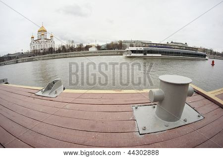 Embankment of Moscow river. View to the Temple of Christ the Savior