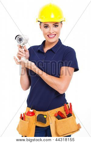 female cctv installer holding security camera isolated on white