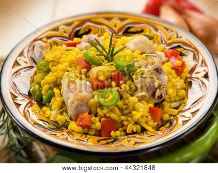chicken paella, selective focus