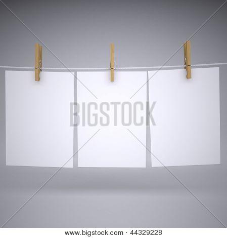 Papier auf ein Seil mit clothespins