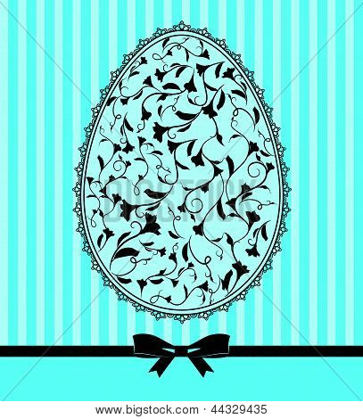 Easter card - lace ornaments and egg, bow. Vector